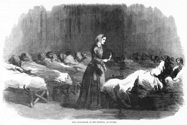 In Scutari, Florence Nightingale attends a patient during the night round