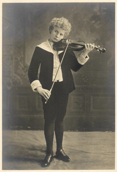FLORIZEL VON REUTER Austrian musician as a young boy, playing the violin
