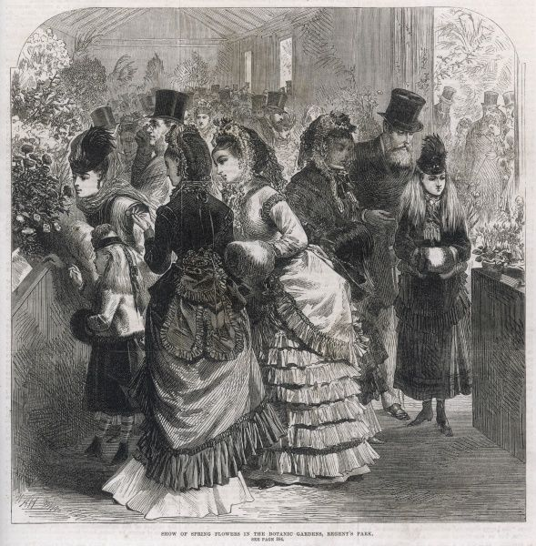 Visitors to the show of spring flowers held in the Botanic Gardens, Regent's Park, London in 1870