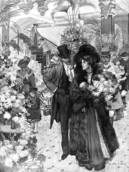 Illustration showing a couple shopping the flower department of the Harrods store, Knightsbridge, London, 1906