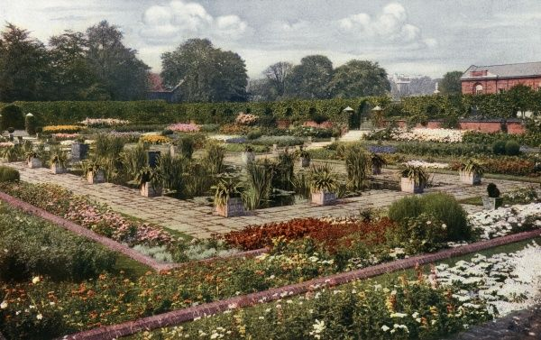 A colour photograph from 1911 showing the flower garden at Kensington Palace in full bloom. Date: 1911