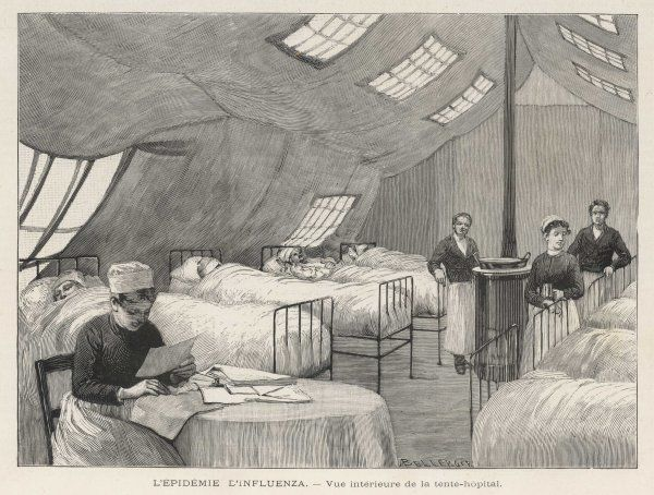 An interior view of a tent- hospital. This one is in the gardens of the Beaujon Hospital, although many more were used to cope with all the 'flu patients Date: 1890