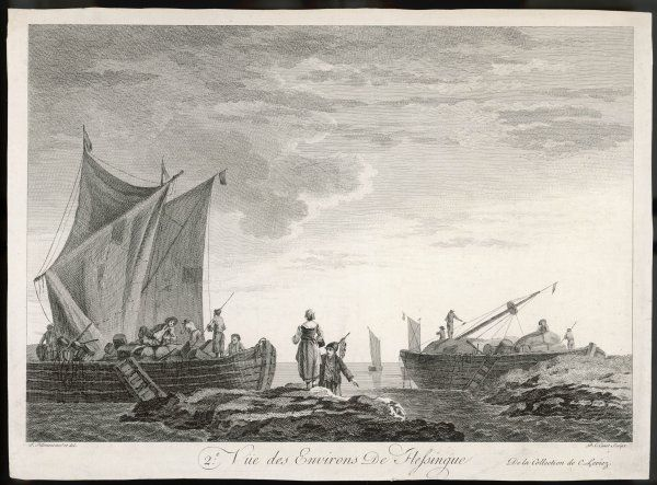 Flushing in the province of Zeeland in South-West Netherlands: depicting barges laden with cargo including barrels