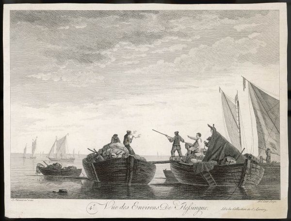 Flushing in the province of Zeeland: depicting barges laden with cargo. A sailor walks a plank between two vessels using a pole to aid his balance