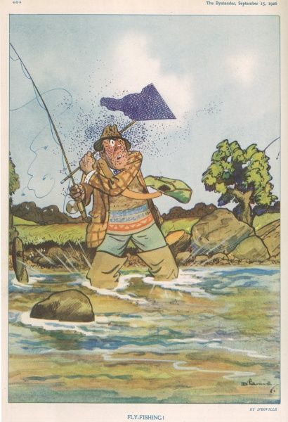 A humorous illustration of a man being attacked by flies whilst fishing