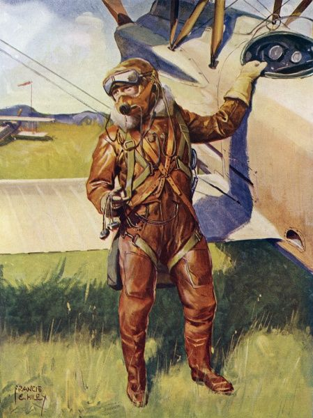A pilot dressed for a high- altitude flight. Equipped with parachute, harness, oxygen apparatus, telephone, wireless earphones, electrical system for heating clothing. Date: 1920s
