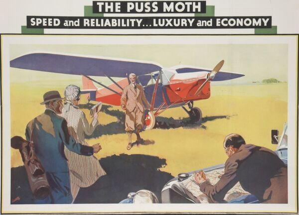 A colour advertisement for light aircraft, from the Art Deco period, portraying a couple going on holiday