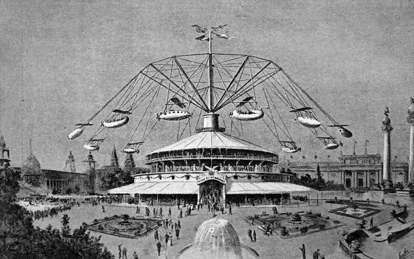 Illustration of Sir Hiram Maxim's latest invention, which may be described as a roundabout in which the revolving bodies are suspended in the air in cars that are attached by steel wire ropes. It resembles a modern day fairground ride