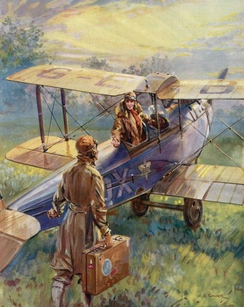 Illustration from 1928 by C.E. Turner reflecting the growing rise of civilian flying in the 1920s