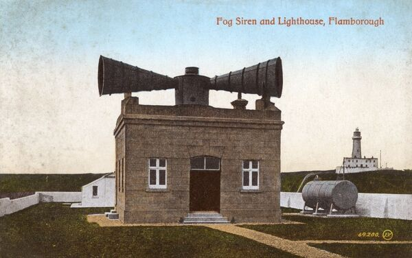 Fog Siren and Lighthouse, Flamborough Head, East Yorkshire. Date: circa 1910s