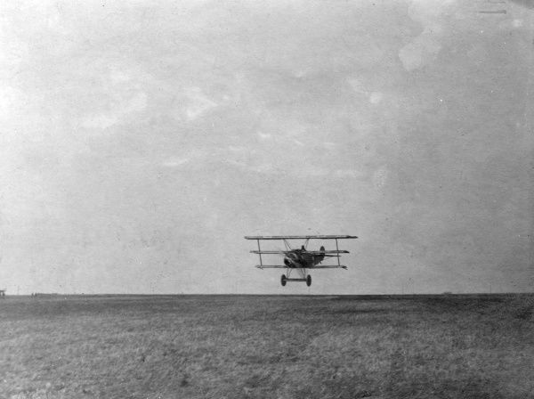 A Fokker triplane of Baron Manfred Albrecht Freiherr von Richthofen (1892-1918), also known as the Red Baron, legendary German fighter pilot during the First World War. It appears to be in the process of landing. Date: circa 1916-1918