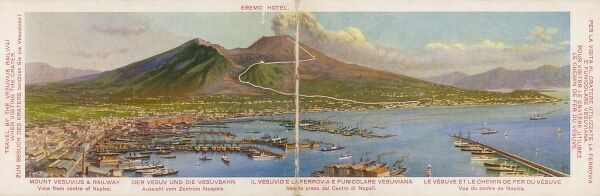 A fold-out panoramic view of the city of Naples and Mount Vesuvius, Italy. Vesuvius is the only volcano on the European mainland to have erupted within the last hundred years. The Funicular Railway can be seen - this operated between 1880 and 1944
