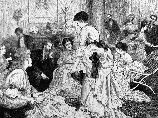 Engraving showing a drawing room in a New York politician's house with a group of young ladies helping to fold ballot papers for the 1872 Presidential election