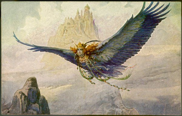The Bird-Princess soars through the skies near her mountain castle