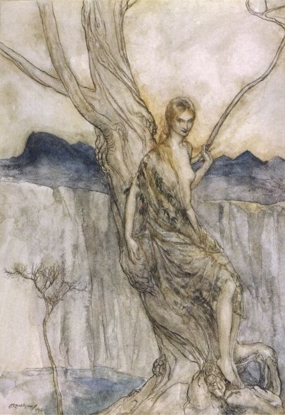 A Dryad leans on a tree trunk Date: 1913