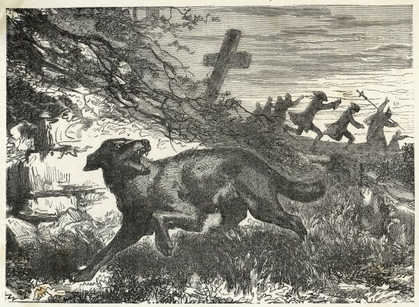 French villagers hunt a werewolf