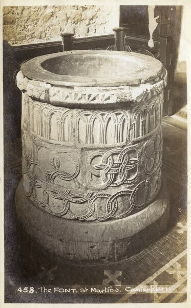 The Norman font in the Church of St Martins, Canterbury, Kent, England - the oldest English parish church in continual use