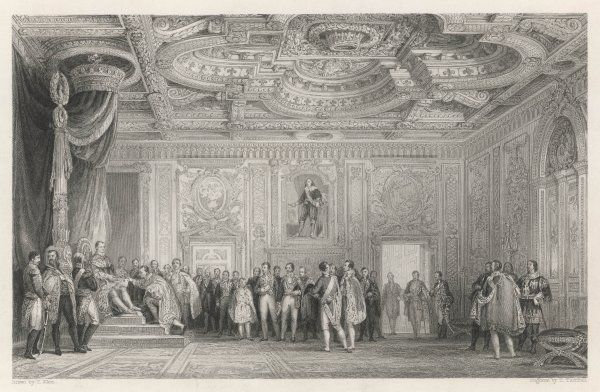 The throne-room of the palace with courtiers and officials standing around while the king graciously receives a document from an obsequious petitioner