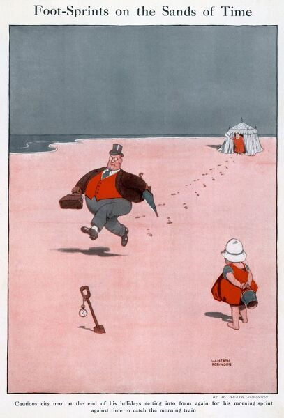 Illustration by William Heath Robinson showing a rotund businessman sprinting across a beach, watched by a small child. Please note: Credit must appear as Courtesy of the estate of Mrs J.C.Robinson/Pollinger Ltd/ILN/Mary Evan&quot