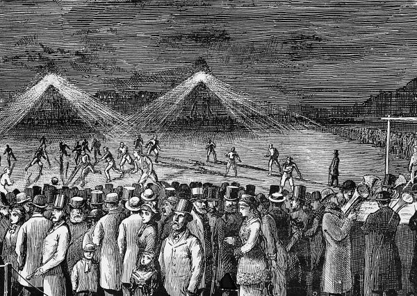 Engraving showing spectators and players at a football match between the Wanderers and the Clapham Rovers illuminated by the new lighting system, which on this occasion was reported to be unsatisfactory due to the positioning of the lights