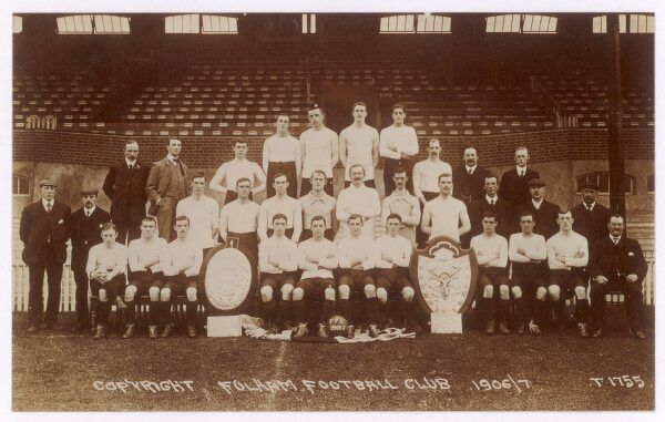 A postcard of Fulham Football Club's team for the 1906/7 season