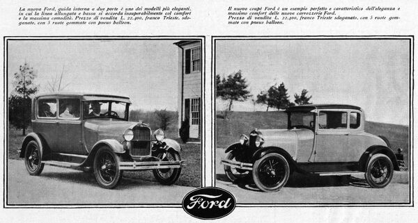 An advertisement, displaying two Ford models in 1928 Date: 1928