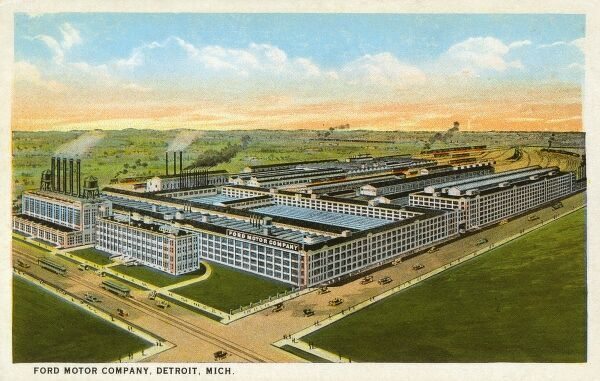 Ford Motor Company Factory - Detroit, Michigan, USA. During 1923, the plant produced more than 7800 Ford motors daily and employed 68,000 men! The site covered 278 acres. Date: 1923