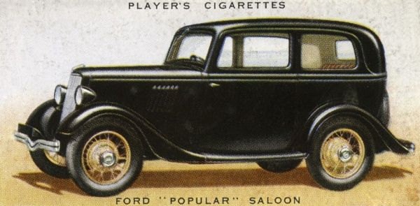 The Ford 'Popular' saloon is the first British car to be sold for less than L100. The maximum speed is 60+ mph. Date: 1936