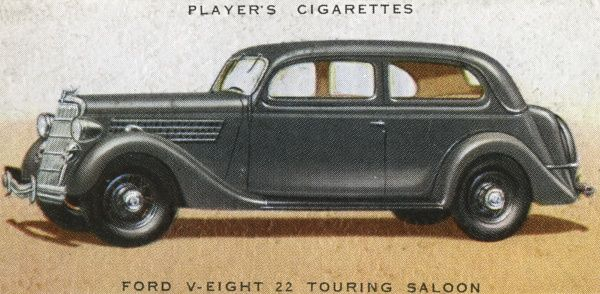 The Ford V-Eight 22 Touring Saloon is an all-British model bult at Dagenham. Date: 1936