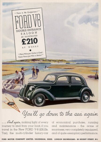 Advertisement for the nippy little Ford V8 Double Entrance Saloon at 210, which is parked (or abandoned?) on a beach&quot