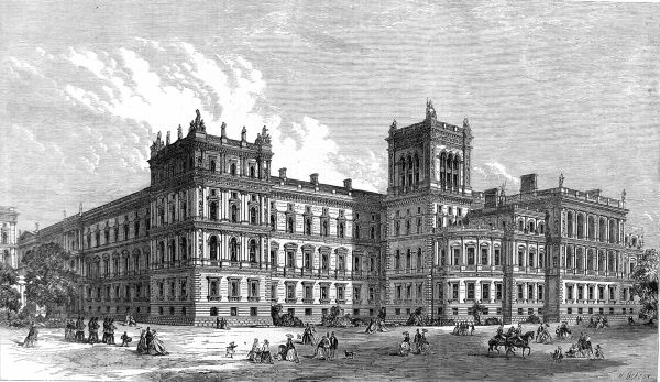 Engraving showing the park front exterior of the then newly built Foreign and India Offices, London, 1866