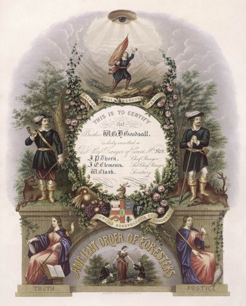 ANCIENT ORDER OF FORESTERS - 'the largest Friendly Society in the World' Enrolment certificate
