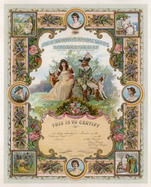 Membership certificate of the Ancient Order of Foresters Friendly Society, ornamented with idyllic scenes and pictures of people being kind. Date: early 20th century