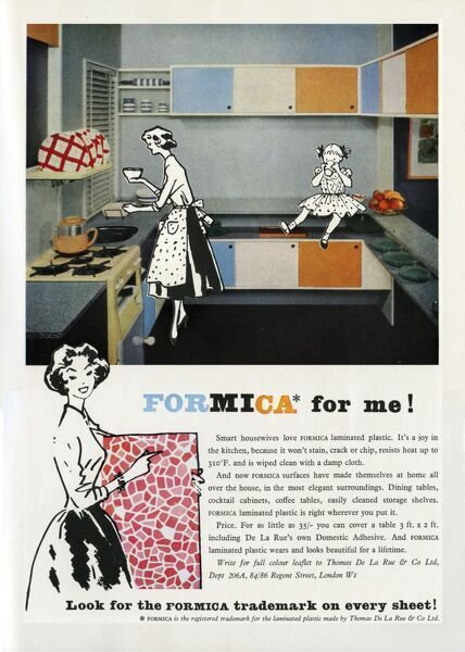 Advertisement for Formica kitchen surfaces and units featuring an illustrated cartoon-like housewife and her little girl amid a pristine and colourful kitchen