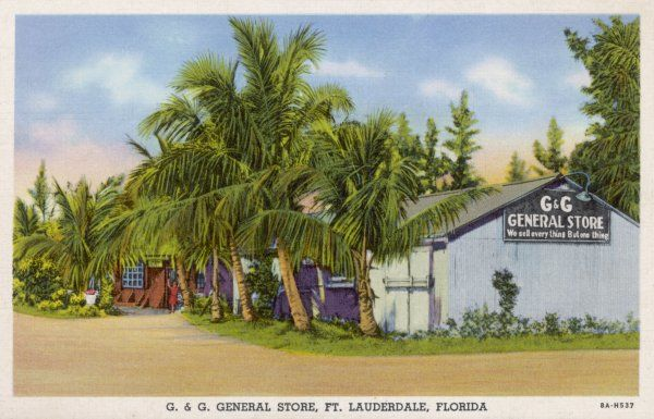 G & G General Store at Ford Lauderdale, Florida, with the enigmatic slogan 'We sell every thing But one thing' which no doubt entices customers in to ask - what ?