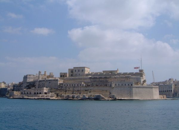 Fortifications on the eastern side of the Grand Harbour, Valletta, Malta