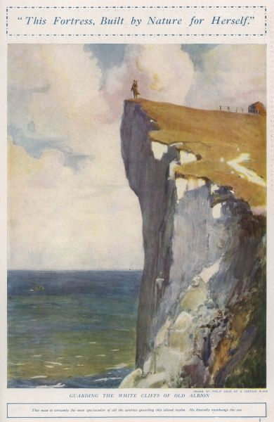 A symbolic image showing a lone soldier defending the White Cliffs