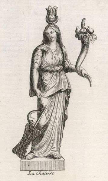 Roman goddess of luck and prosperity, carrying a cornucopia full of goodies
