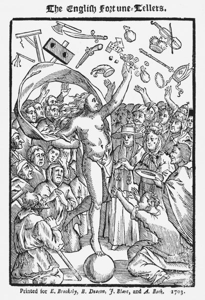 Frontispiece of 'The English Fortune Teller', showing Fortune acclaimed by one and all, including the Pope and clergy