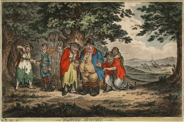 "Coloured engraving, ""Fortune-Hunting"" published by H. Humphrey, London, 20 November 1804. HPG/8/2/1 (xli)&quot"
