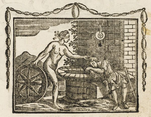 FORTUNE & THE SCHOOLBOY or Child or Traveller: A boy sleeps on the brink of a deep well; Fortune wakes him, not wanting the blame for the boy's folly if he should fall