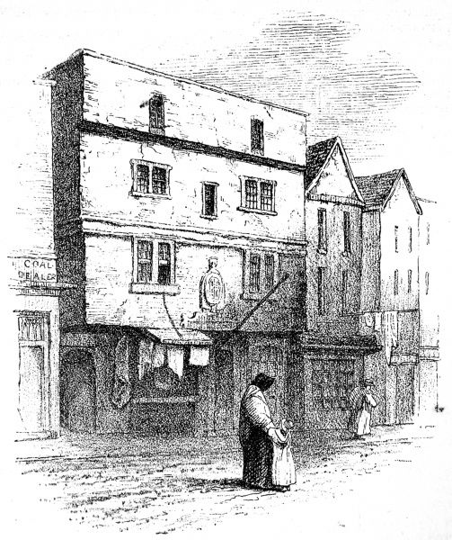 Engraving showing the exterior of the Fortune Theatre, in St. Giles, Cripplegate, London, sketched in 1840
