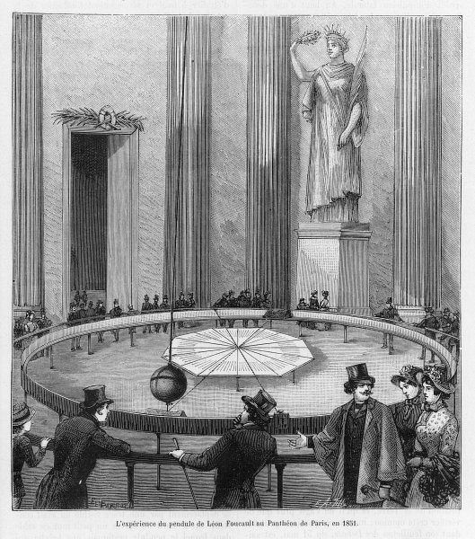 Leon Foucault uses his pendulum to demonstrate the rotation of the Earth, at the Pantheon, Paris, 1851