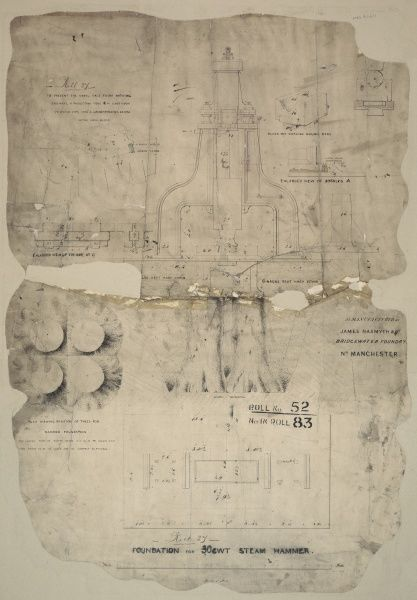 Foundation for 30 cwt steam hammer, plans, front elevation and details Date: 1854