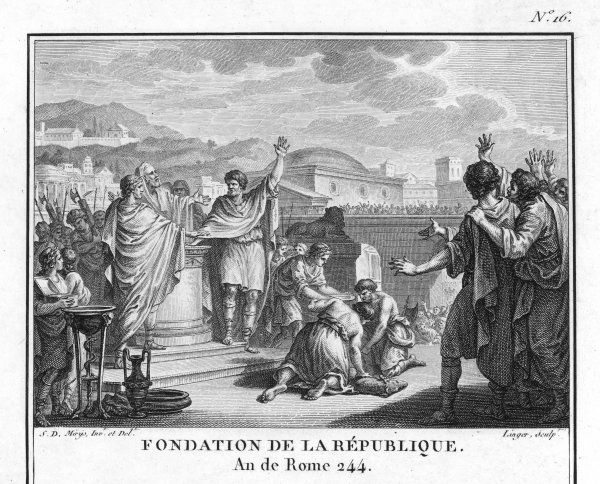 The foundation of the Roman Republic, following the expulsion of the Tarquins, last Kings of Rome