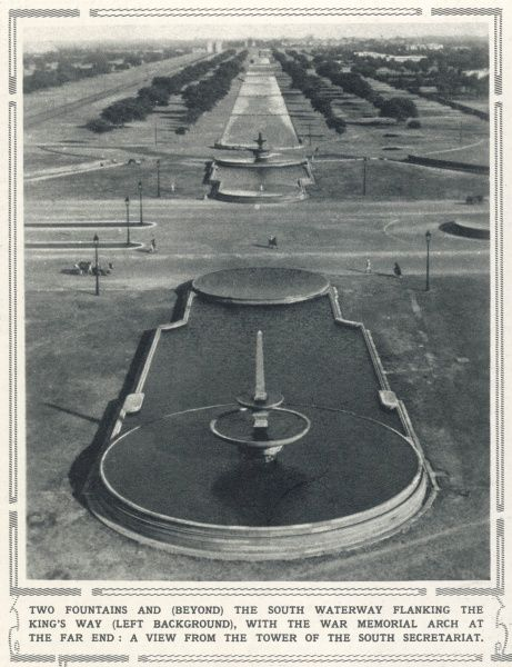 Unusual views in New Delhi, 1931 on the eve of its inauguration as capital of India. This photograph shows the two fountains and the south waterway flanking the King's Way (left background) with the war memorial arch at the far end
