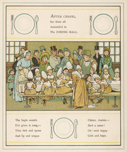 Children of the Foundling Hospital, London, enjoy their meal despite the number of sightseers