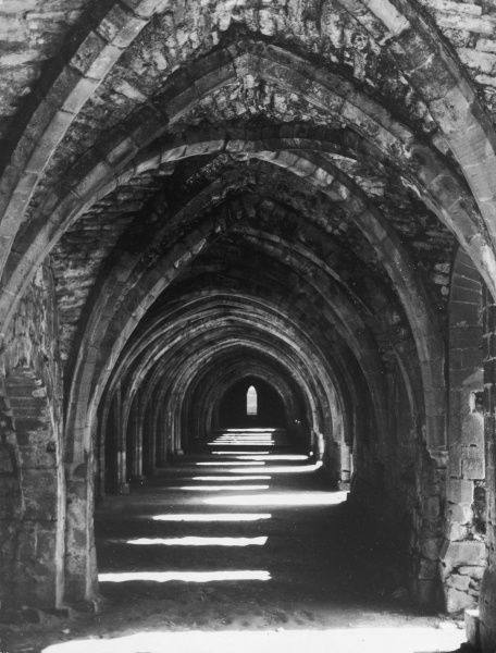 The vaulted ceilings of the Cloisters of Fountains Abbey, Yorkshire, England, which was founded in 1132