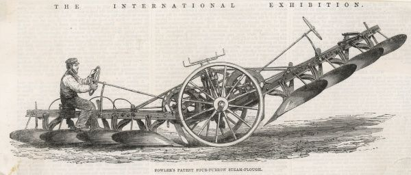 Fowler's patent four-furrow steam-plough, an exhibit of the 'International Exhibition&#39