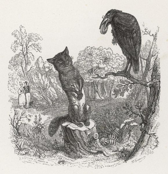 The cunning fox is able to trick the crow into dropping the cheese from her beak by implying that she cannot sing